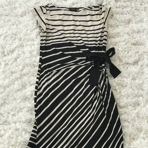 Black and beige striped wrap dress